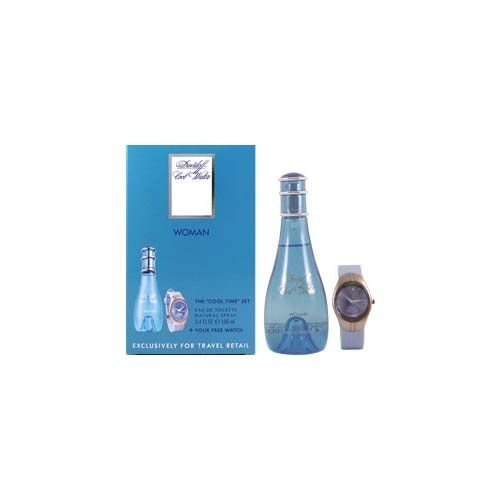 Cool Water by Davidoff for Women Cool Time 2 Piece Set Includes: 3.4 oz Eau de Toilette Spray + Sports Watch