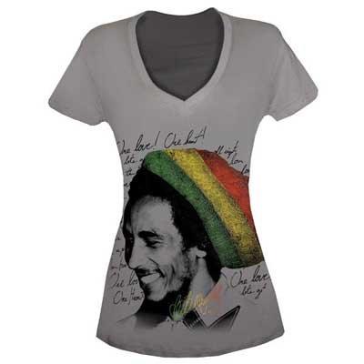 Bob Marley - Rasta Tam Womens T-Shirt in Asphalt, Size: Small, Color: Asphalt