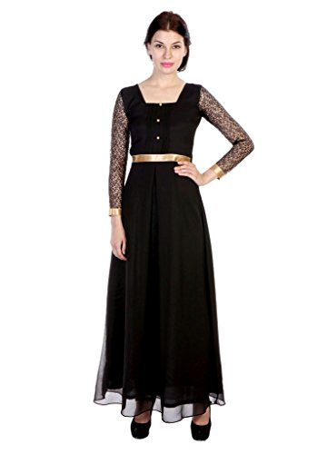 JAMES-SCOT-Prestige-Square-Neck-Full-Sleeves-Solid-Black-Colour-Maxi-long-Dress-For-Women