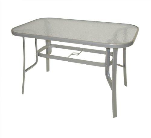 Gartentisch-Florenz-70x120cm-aus-Metall-Glas-silberfarben