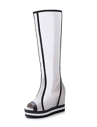 Gll&Xuezi Donna Wedge Heel Peep Toe ginocchio-alti stivali di moda (più colori) , black-us8 / eu39 / uk6 / cn39 , black-us8 / eu39 / uk6 / cn39