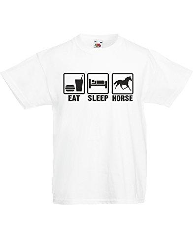 Eat Sleep Horse, Kids Printed T-Shirt - White/Black 7-8 Years front-268355