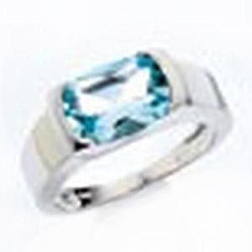 Damen Gold Ring 585 Gold Weißgold 1 Blautopas ( Größe 60 ) als Geschenk