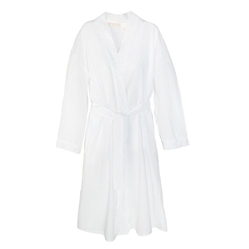 La Cera Cotton Robe with Embroidery and Peal Accents, Large, White Cera Bath