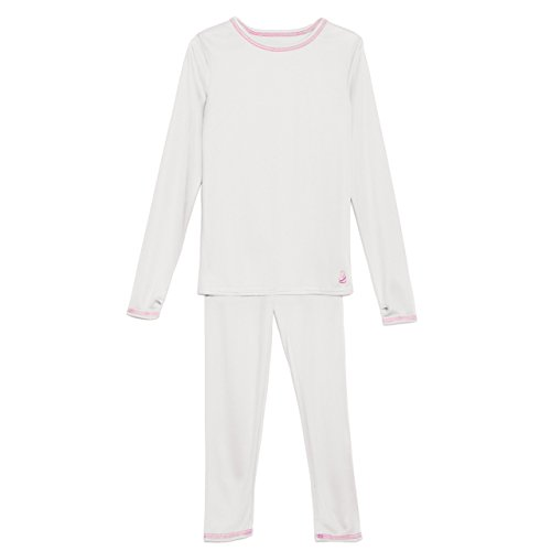 Cuddl Duds Girls Long Sleeve Crew Neck and Pant Thermal Set-White, S (6-6x) (Thermal Girls compare prices)