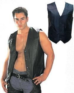 Men's Black Leather Vest Sz 2XL
