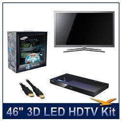 "Samsung UN46C8000 46"" 1080p 3D LED TV, 1080p Resolution, 3D Technology, 3D HyperReal Picture Engine, Touch of Color Design, Kit Includes 2 Pairs of 3D Glasses, BD-C5900 1080p 3D Blu-ray DVD Player, Dig Pro HDMI Cable"