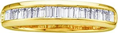 Men's or Women's White Diamond 0.15CTW 10K Yellow Gold Wedding Band GND7615