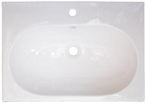 American Imaginations 320 26-Inch by 18-Inch White Ceramic Top with Single Hole