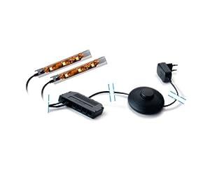 vitrinen led clip glaskantenbeleuchtung glasbodenbeleuchtung warm wei mit 2 led clips. Black Bedroom Furniture Sets. Home Design Ideas