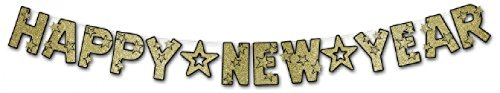 Glittered Happy New Year Streamer (black & gold) Party Accessory  (1 count) (1/Pkg)