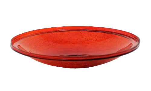 Achla Designs 14-Inch Red Crackle Glass Bowl