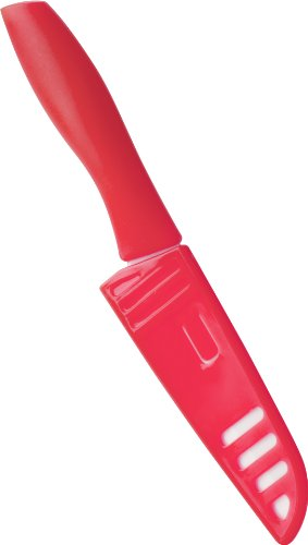 Trudeau Ceramic Mini Santoku Knife, Red