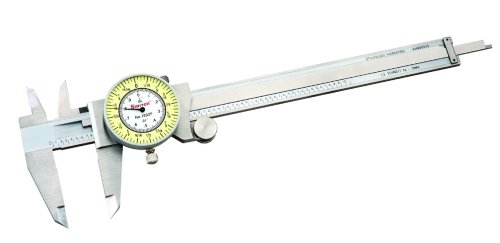 Starrett 1202F-6 Dial Caliper, Stainless Steel, White Face, 0-6