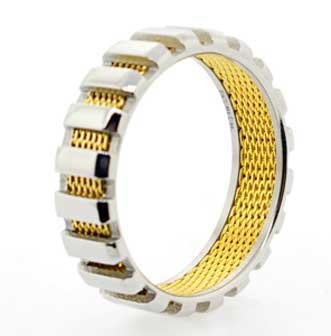 6MM Polished Stainless Steel Ring With Polished Top Layer and Inner Layer has Gold Plated Mesh