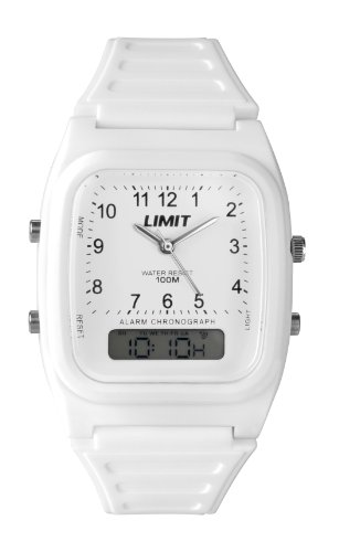 Limit 6973 Boys Girls White Silicone Analogue/Digital Watch 100m Water Resistant Alarm Light And Timer Functions