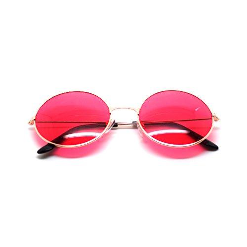 Ultra® oro incorniciato con rosso lenti adulti retrò tondo vecchio vintage occhiali da sole completo specchio lente John Lennon stile cercare qualità UV400 occhiali da sole uomo donna