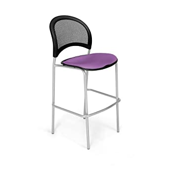 OFM 338S-2214 Moon Cafe Height Silver Chair, Plum