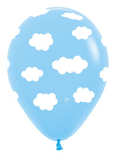 6 party BALLOONS new LIGHT blue CLOUDS birthday ANY OCCASION favors DECORATIONS - 1