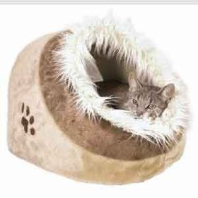 Cushy Cave Plush Minou Cat Bed Beige