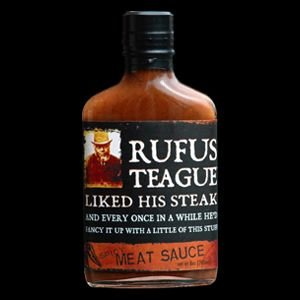 Rufus Teague, Award Winning - Spicy Meat Sauce, 8 Ounce Glass Flask by Rufus Teague