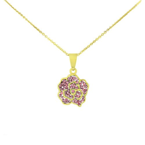 Stainless Steel Gold Tone Flower Pendant with Pink Cubic Zirconia & Chain