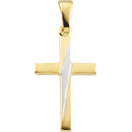18mm Cross Pendant in 14k Yellow and White Gold - Men & Ladies