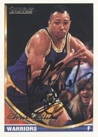 Chris Gatling Golden State Warriors 1993 Topps Gold Autographed Hand Signed Trading... by Hall of Fame Memorabilia
