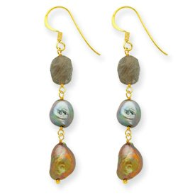 Sterling Silver and Vermeil Labradolite and FW Cultured Pearl Earrings - JewelryWeb