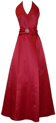 Satin Halter Dress Crystal Pin Prom Holiday Gown