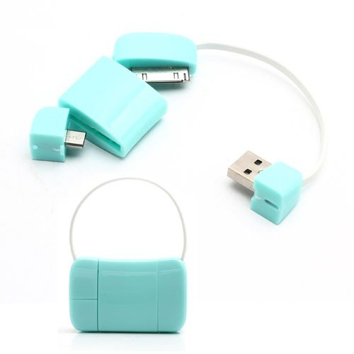 Jujeo Newest Handbag 30 Pin Micro Usb Data Charge Cable For Ipad, Iphone 4/4S, Samsung, Htc And Lg - Non-Retail Packaging - Blue