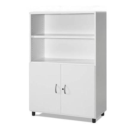 Armario de Oficina, Mediano, Con puertas bajas. 92x42x144 cm. Color Blanco.