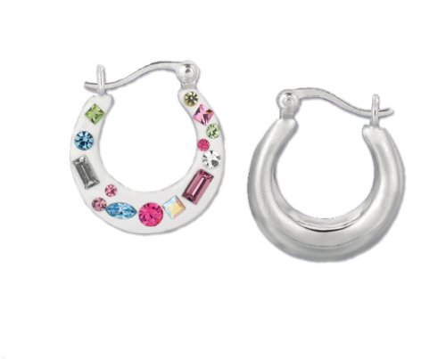 Children`s Sterling Silver Color Stone Hool Earrings