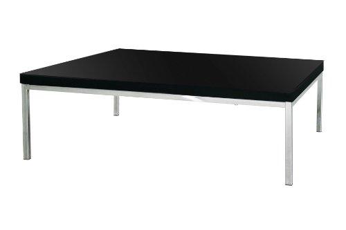 Premier Housewares Coffee Table with Black High Gloss/Chrome Legs - 40 x 67 x 97 cm