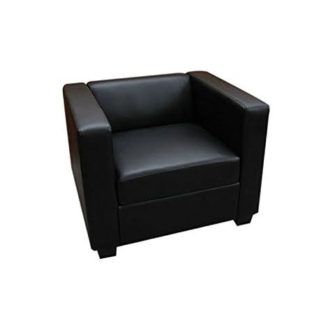 Sessel Loungesessel Lille ~ Leder, schwarz