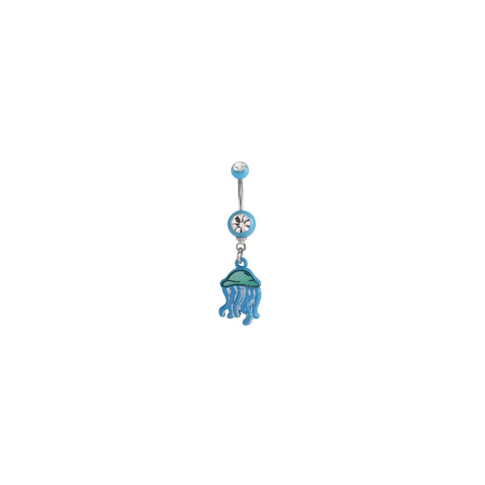 Stainless Steel Belly Ring with Light Blue Acrylic Balls and Clear Cubic Zirconia   Blue Jellyfish Dangle   14G   7/16 Bar Length   Sold Individually