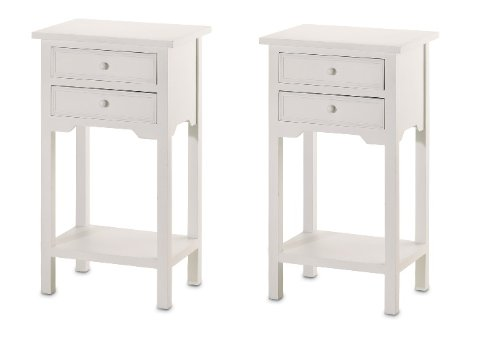 Cheapest Price! 2 Wood WHITE END TABLES NIGHT STANDS WITH 2 DRAWERS