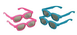Children's Passive 3D Glasses for Kids - 4 PAIRS - (2-Pink 2-Blue) Vizio, LG, Toshiba, Phillips, JVC, Panasonic - 3D Cinema