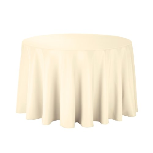 Linentablecloth Round Polyester Tablecloth, 108-Inch, Butter front-316945