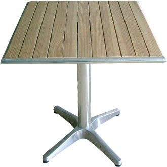 Garden/diseño cilíndrico cuadrado madera de fresno con mesa - 60 cm borde - mango de aluminio y de pre-tratadas en la parte superior 3 kg base - diseño elegante y duradero muebles para lugar de tu jardín para
