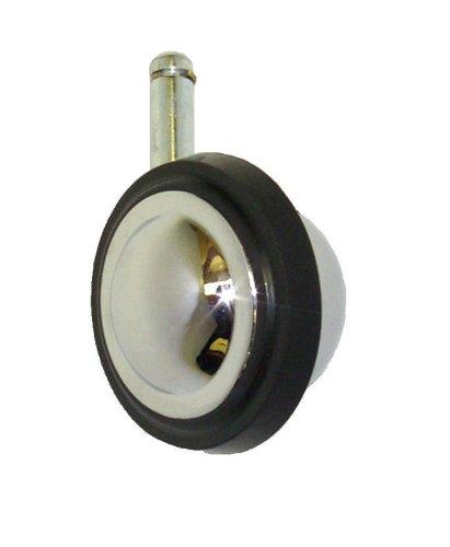 """ER Wagner BM 3"""" Diameter Black Rubber On Metal Wheel Light Duty Furniture Decorative Ball Swivel Stem Caster, 3/8"""" Diameter X 1"""" Length Friction Ring Stem, 100 lbs Capacity Range"""