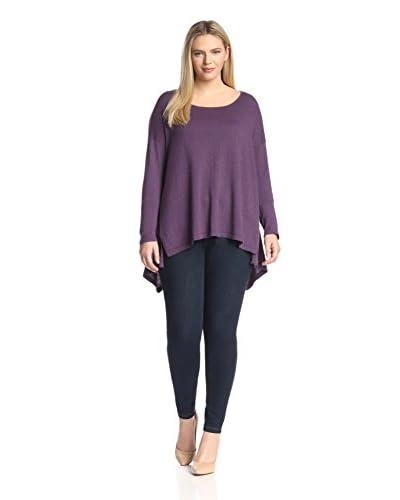 Cashmere Addiction Plus Women's Boxy Asymmetric Hem Crew Sweater