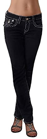Damen Hose Jeans *F903* weiße Nähte Gr. 34-42 Stretch Damenjeans Hose fabulous schwarz 34