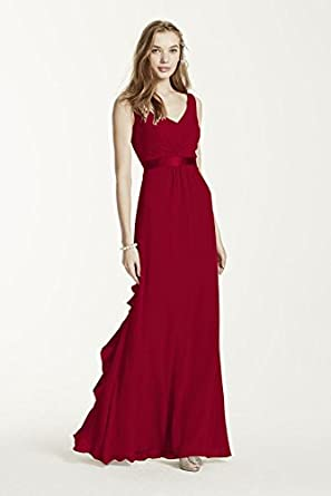 Sleeveless Chiffon Bridesmaid Dress with Ruffled Back Detail Apple, 0