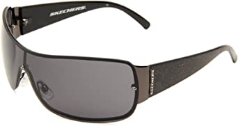 Skechers Men's 5004 Oversized Sunglasses,Gunmetal Frame/Smoke Lens,one size