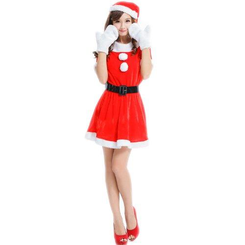 クリスマス サンタ コスプレ プレミアムシリーズAタイプ(4点セット 帽子+ワンピース+ベルト+手袋) [VEROMAN] J13-1201
