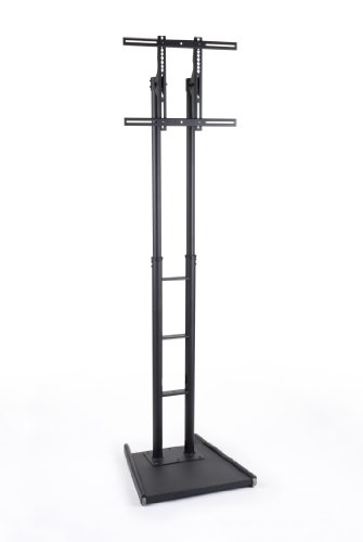 Cheap LCD TV Stands 26″w x 93″h x 26″d Black Metal Double Post Plasma Flat Screen Floor Racks for 32″ to 70″, weighing less than 175 lbs. – LED Monitor Bracket Features Weighted Base (B0090PAXSA)