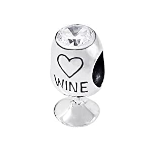 wine glass charm bead with cz 925