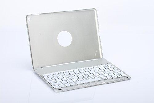 Golden iPad air 2(6)専用 Bluetooth3.0 タブレットキーボード付ケース 7色のバックライト  ノートパソコンに変身 (シルバー)
