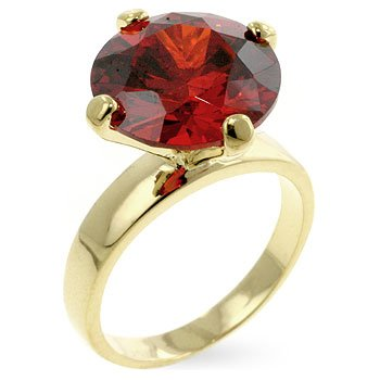 14k Gold Bonded Solitaire Engagement Ring with Round Cut Garnet CZ in a Prong Setting in Goldtone